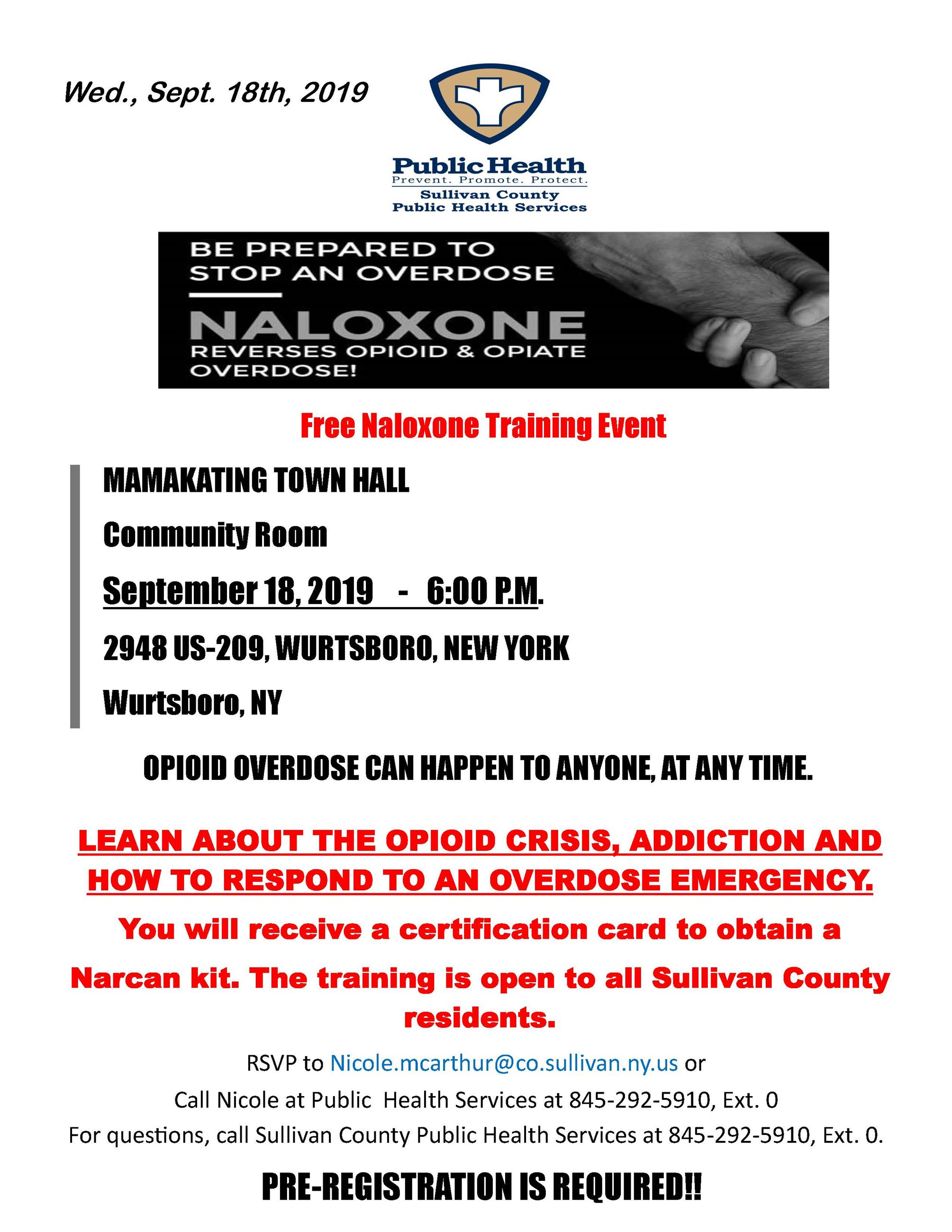 Mamakating Public Narcan Class Flyer 9.18.19.CD