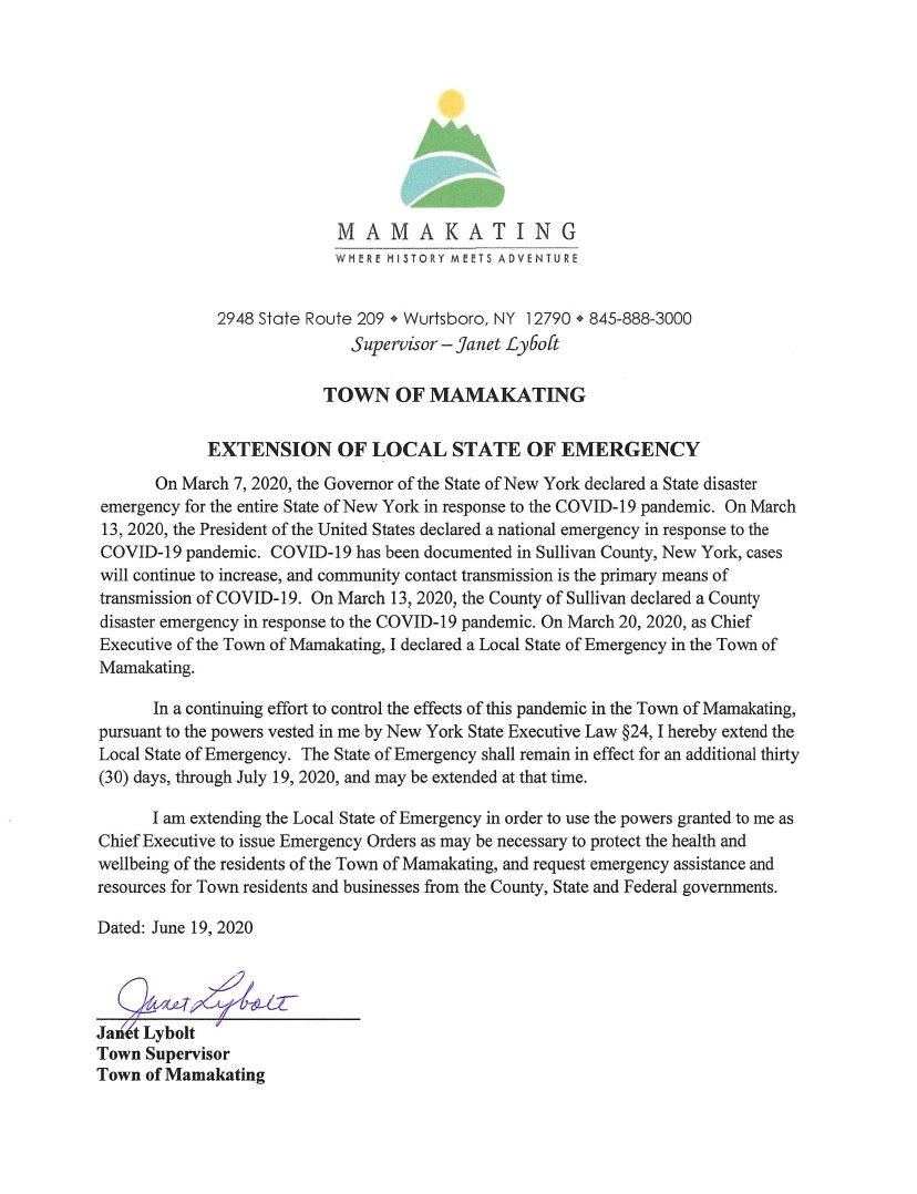 State of Emergency ext 6.19.20
