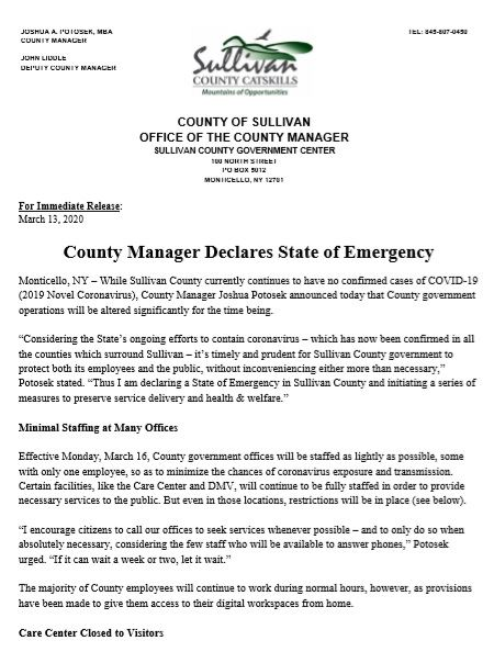 County Manager Statement