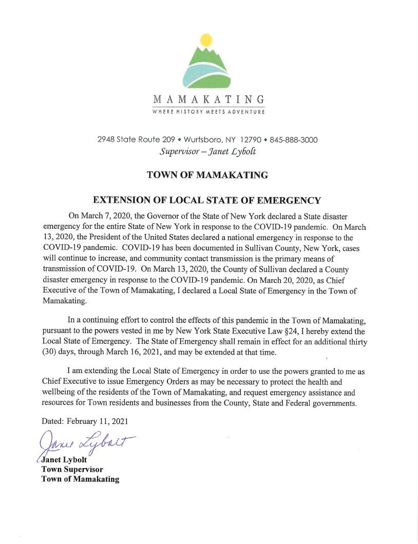 Local State of Emergency 3.16.21