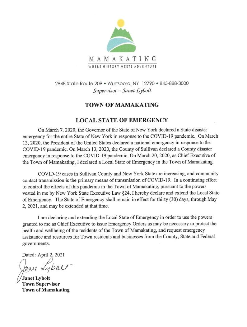 State of Emergency ext 5.2.21